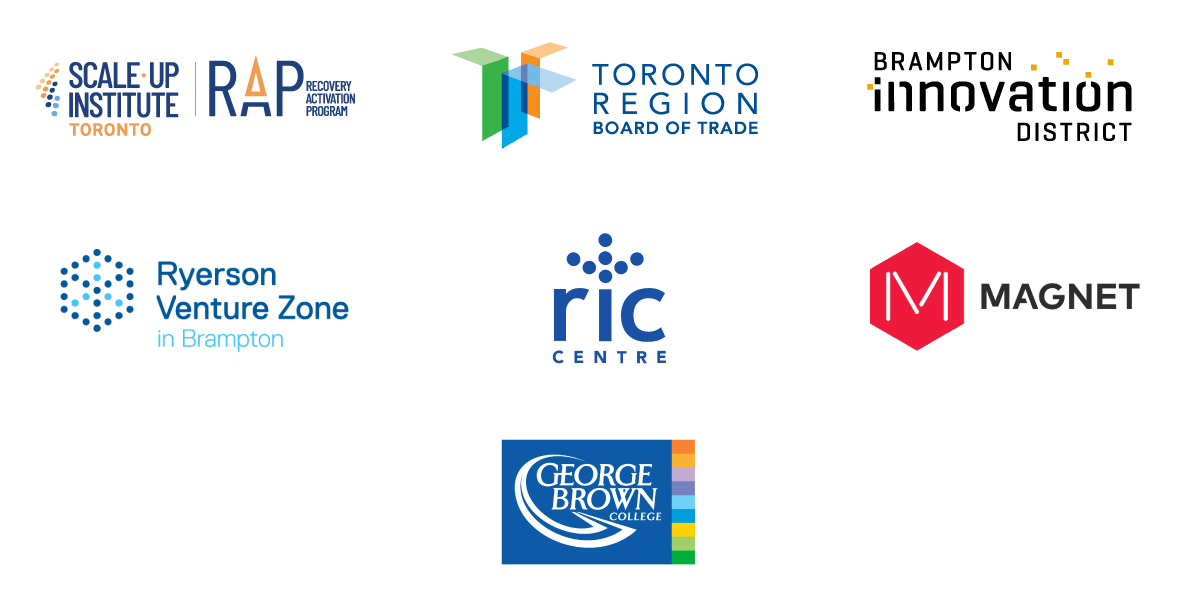 All Community partner logos - Scale-up Institute Toronto, Toronto Region Board of Trade, Brampton Innovation District, Ryerson Venture Zone in Brampton, RIC Centre, Magnet, George Brown College